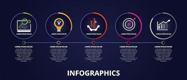Modelo de infográfico escuro