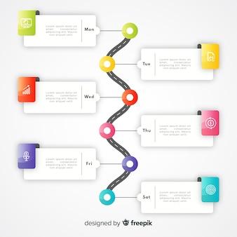 Modelo de infográfico gradiente colorido timeline