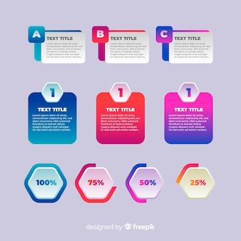 Modelo de infográfico gradiente com porcentagens