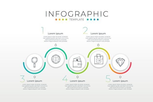 Modelo de infográfico gradiente com processo
