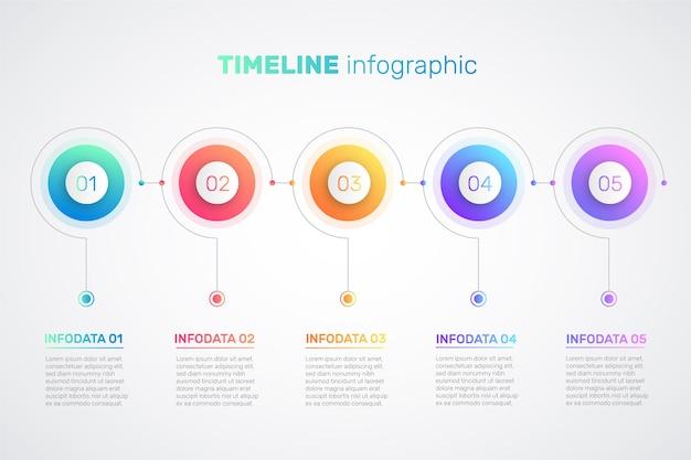 Modelo de infográfico gradiente de linha do tempo