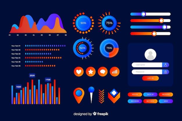 Modelo de infográfico gradiente escuro