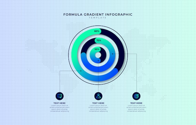 Modelo de infográfico gradiente moderno passo