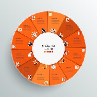 Modelo de infográfico gráfico de círculo com 12 opções.