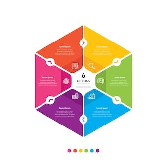 Modelo de infográfico gráfico hexágono com 6 opções