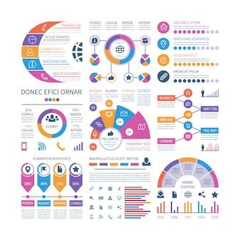 Modelo de infográfico. gráficos de investimento financeiro, fluxograma da organização do cronograma do processo.