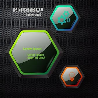 Modelo de infográfico industrial com hexágonos escuros brilhantes e ícones coloridos em grade de metal