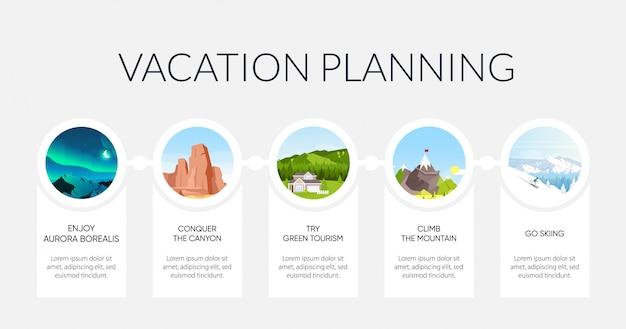 Modelo de infográfico informativo de cor plana de planejamento de férias