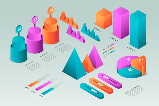 Modelo de infográfico isométrica multicolorida