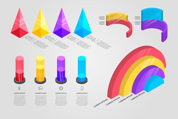 Modelo de infográfico isométrico colorido