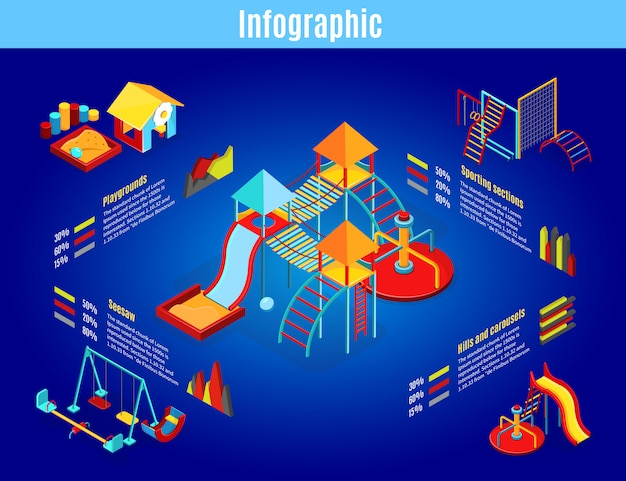 Modelo de infográfico isométrico para playground infantil com carrosséis, balanços, slides, caixa de areia, esportes, seções, diagramas, gráficos