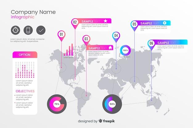 Modelo de infográfico mapa mundo