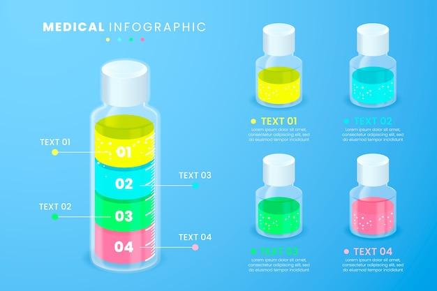 Modelo de infográfico médica e garrafas