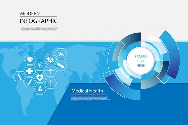 Modelo de infográfico médico de ciência de cuidados de saúde
