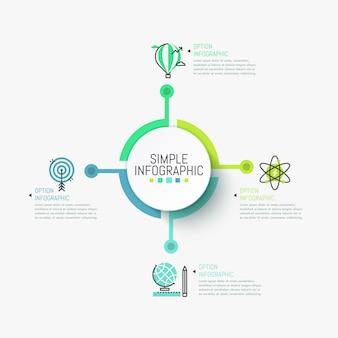 Modelo de infográfico minimalista. elemento redondo central conectado com quatro ícones coloridos e caixas de texto