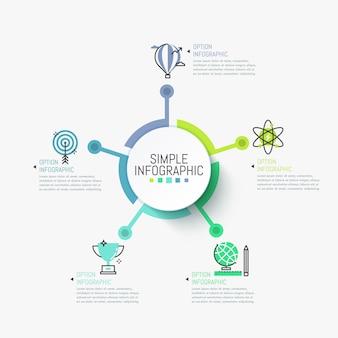 Modelo de infográfico minimalista. elemento redondo no centro conectado com símbolos e caixas de texto.