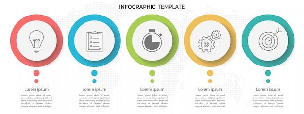 Modelo de infográfico mínimo círculo timeline 5 opções ou etapas.
