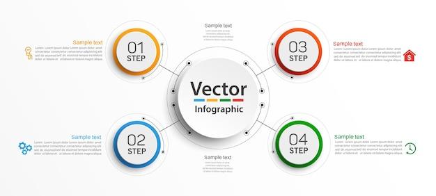 Modelo de infográfico moderno com 4 etapas para negócios