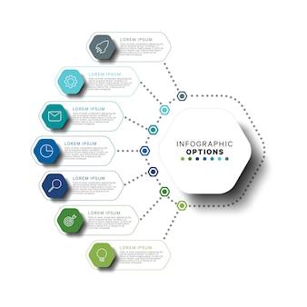 Modelo de infográfico moderno com elementos hexagonais