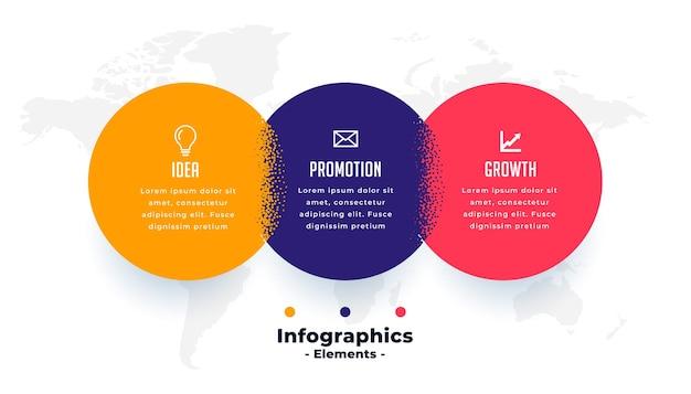 Modelo de infográfico moderno de três etapas conectadas