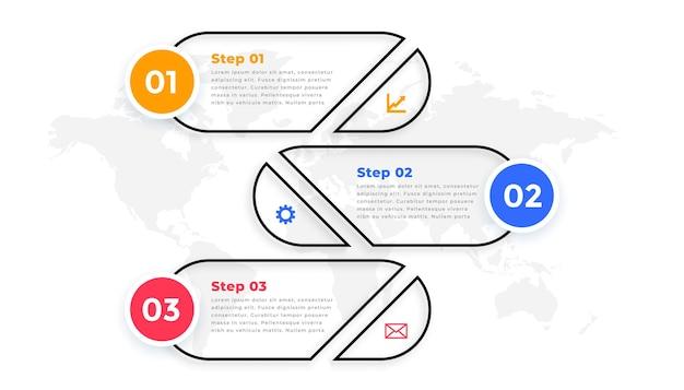 Modelo de infográfico moderno de três etapas de estilo de linha