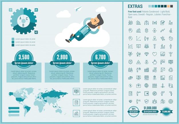 Modelo de infográfico negócios design plano e conjunto de ícones
