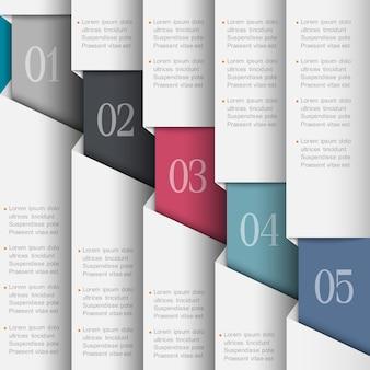 Modelo de infográfico numerado de papel