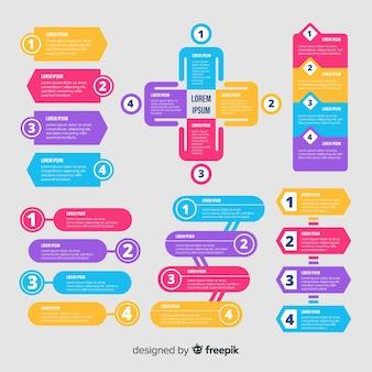 Modelo de infográfico numerado em design plano