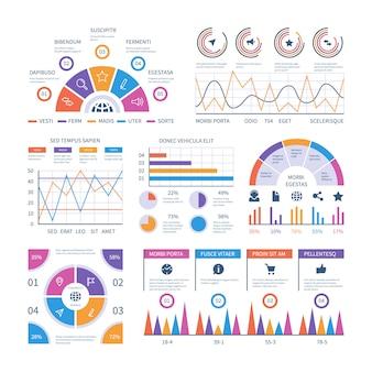Modelo de infográfico. painel, gráficos de finanças de barras, gráfico de pizza e diagramas de linhas. infografia de vetor analítico