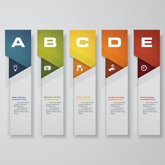 Modelo de infográfico para 5 opções, etapas ou processos.