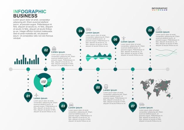 Modelo de infográfico para negócios 8 opções no conceito de transporte