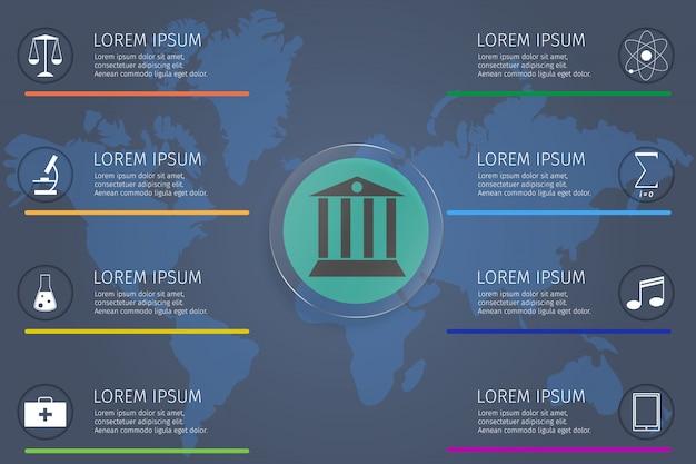 Modelo de infográfico para vetor de estudante de conceito de educação