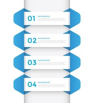 Modelo de infográfico plano azul de 4 etapas para negócios