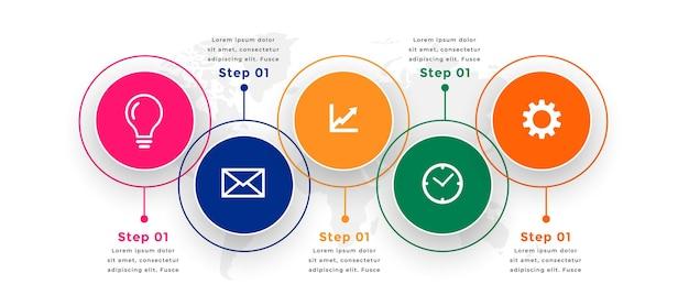 Modelo de infográfico profissional em estilo circular