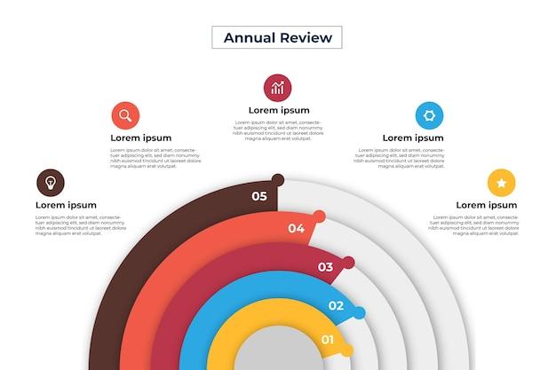 Modelo de infográfico radial de design plano