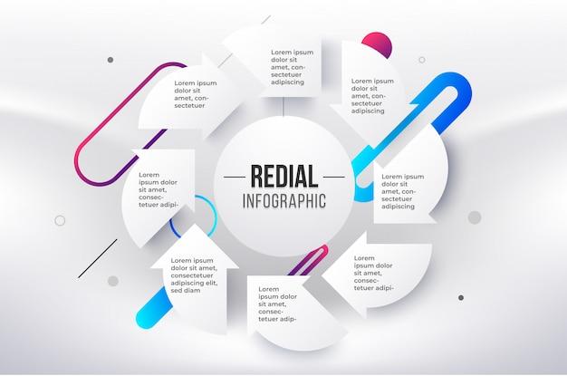 Modelo de infográfico radial. infográfico de círculo de 8 etapas.