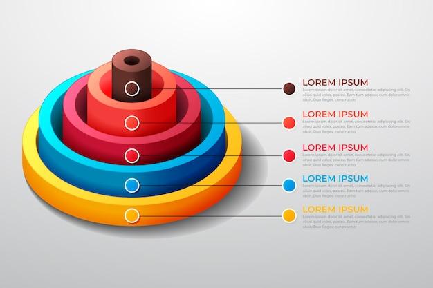 Modelo de infográfico radial realista