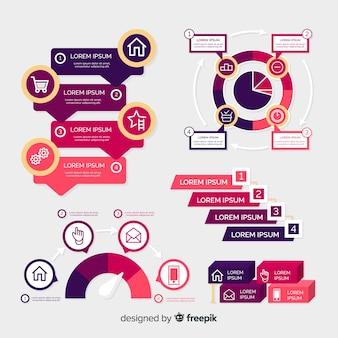 Modelo de infográfico roxo em design plano