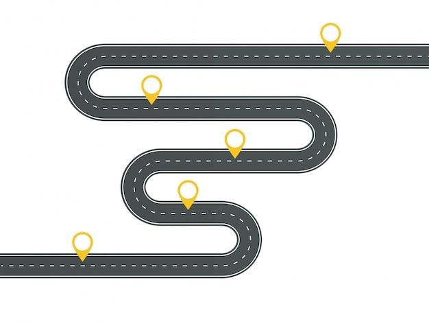 Modelo de infográfico sinuosa estrada de asfalto com pin-ponteiros.