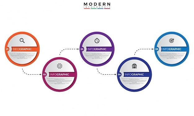 Modelo de infográfico timeline 3d