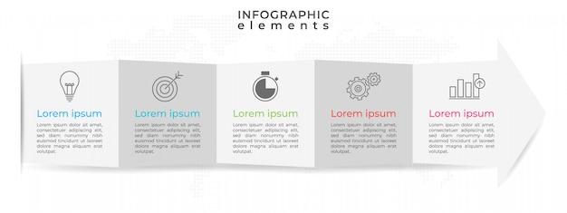 Modelo de infográfico timeline mínima com cinco opções