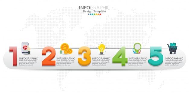 Modelo de infográfico timeline moderno colorido com cinco etapas.