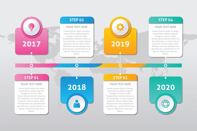 Modelo de infográfico timeline plana