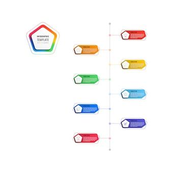 Modelo de infográfico timeline vertical 8 etapas com pentágonos e elementos poligonais em um fundo branco.