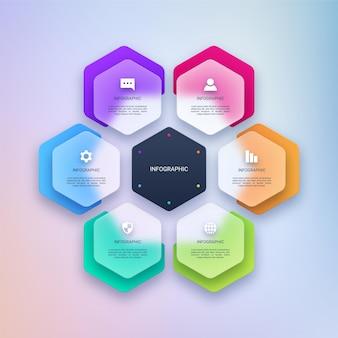 Modelo de infográfico transparente colorido para negócios