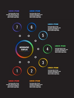 Modelo de infográfico vertical 7 etapas com elementos de corte de papel redondo em preto