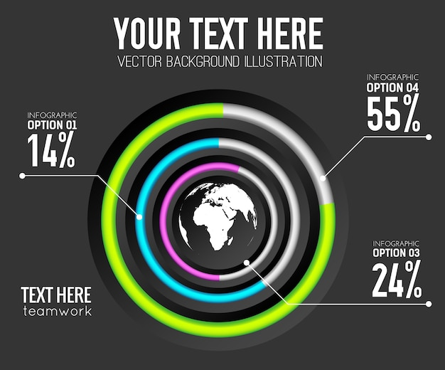Modelo de infográfico web abstrato com porcentagem de anéis coloridos de gráfico de círculo e ícone do mundo