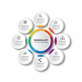 Modelo de infográficos circular colorido