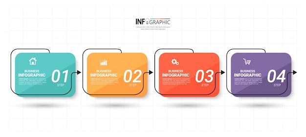 Modelo de infográficos com 4 etapas