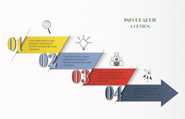 Modelo de infográficos com 4 opções, passos, ícones de seta.